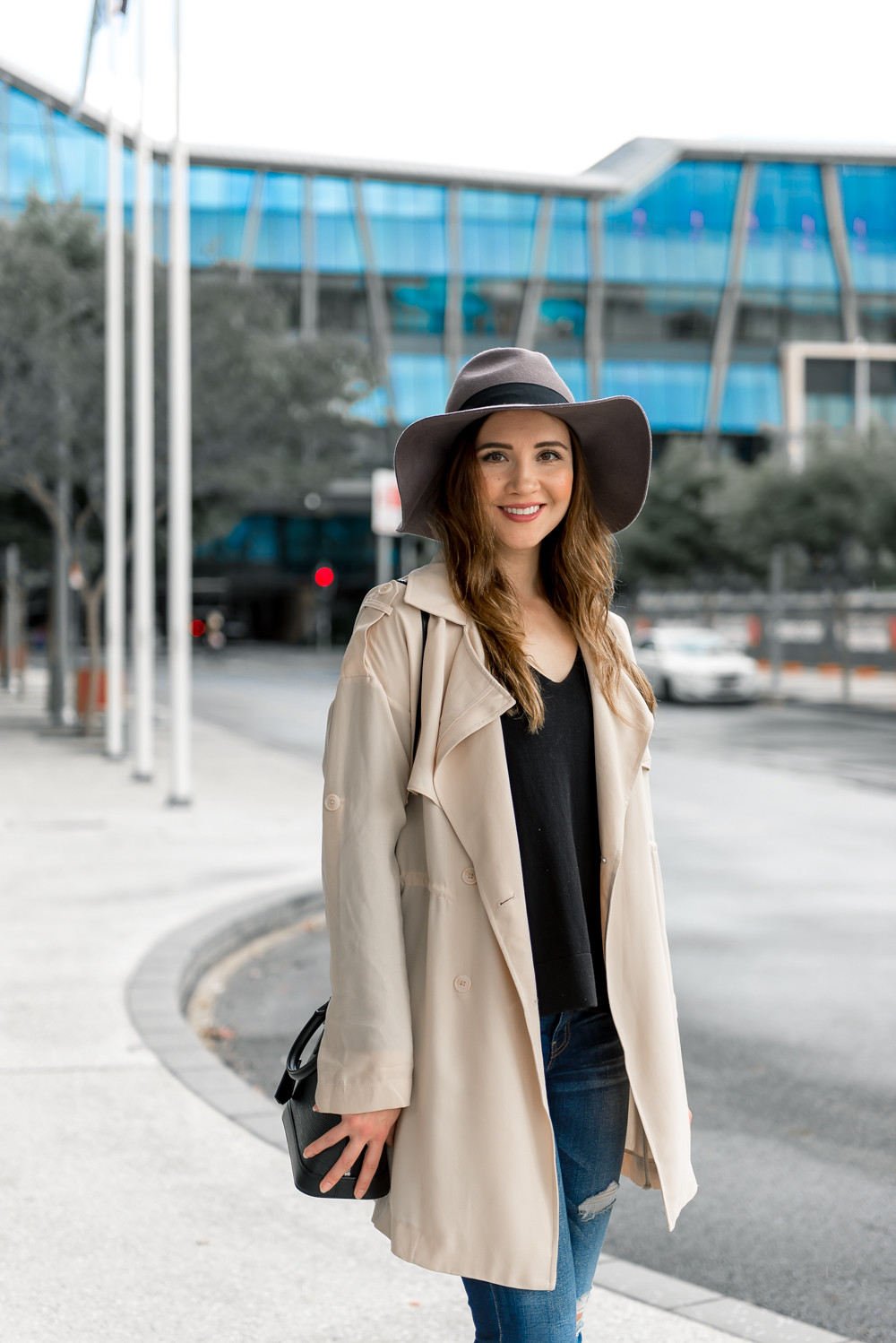 Stylish winter outfit with boho hat