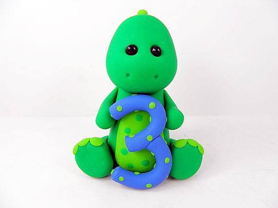 Green Dinosaur 3rd Birthday Cake Topper Polymer Clay