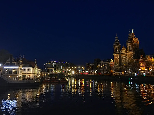 A night by the canals of Amsterdam.