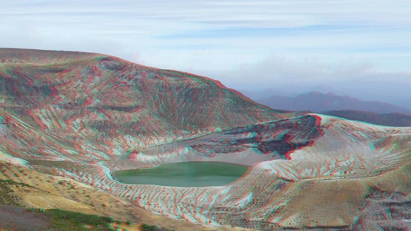 Zao Okama crater lake, anaglyph