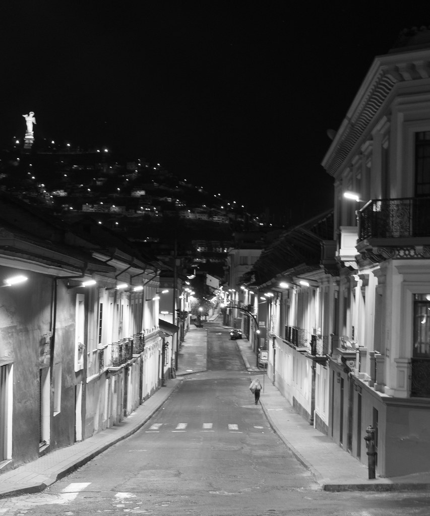 Walking at midnight on the streets of Quito