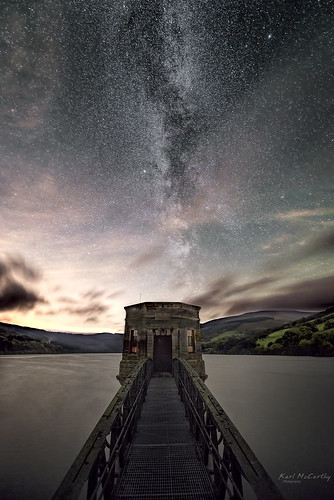reservoir milky way night stars water long exposure