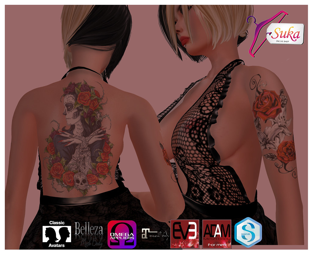 Suka** Santa Muerte tattoo   marketplace secondlife com/p