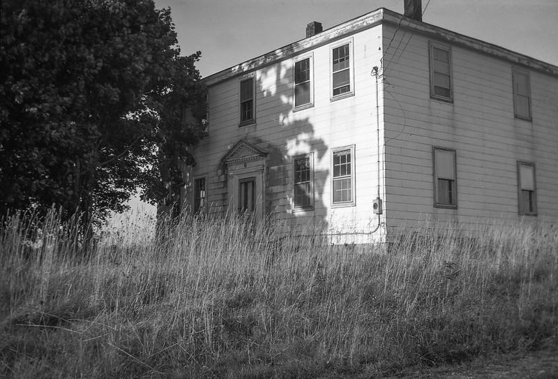abandoned homestead, tree, cast shadow, Route 131, South Thomaston, Maine, Kodak Autographic Junior No. 1, Arista.Edu 200, early October 2017