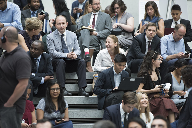 Tue, 10/10/2017 - 16:32 - October 10, 2017 - WASHINGTON DC. World Bank / IMF 2017 Annual Meetings.  Watch Event.  Challenging Business as Usual: A Conversation between World Bank Group President Jim Yong Kim and Chobani CEO and Founder of Tent Foundation Hamdi Ulukaya. Photo: World Bank / Grant Ellis  Photo ID: 091017-Advisory Council-jyk-016_F