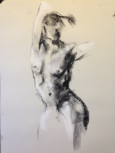 Gestural figure drawing of the dynamic Emilie Largier from Chingford life drawing last night.