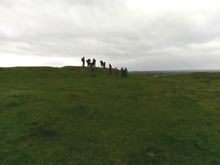 the long walkers was silhouetted against the sky at Burrough Hill