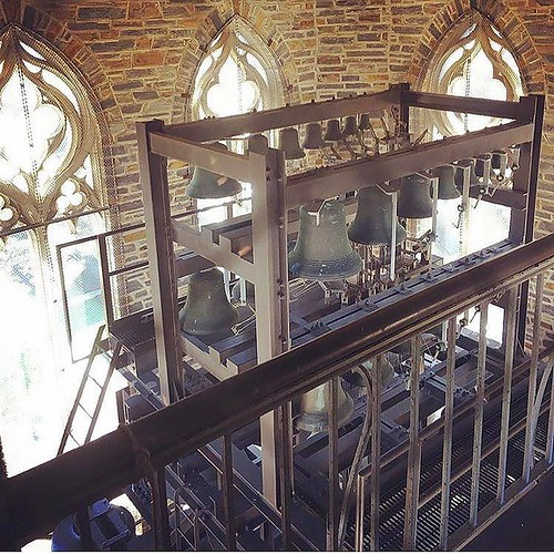 A rare view from inside the Chapel ft. all the bells and whistles. #pictureduke #dukechapel #chapelbells #dukeuniversity //PC: @doctoratica