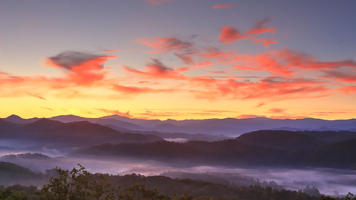 dawn sunrise clouds landacape great smoky mountains national park foothills parkway tennessee