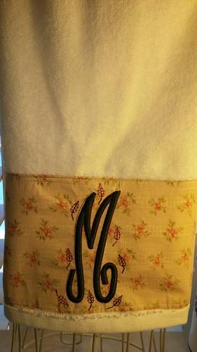 Monogrammed Bath Towel Raised Satin Elegant Font Fall Leaves   by Stitchcottage