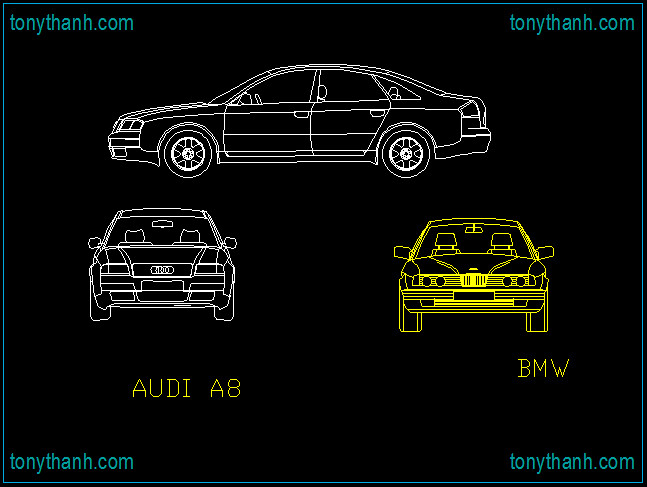 Front view of Audi A8 and BMW cad block free download draw