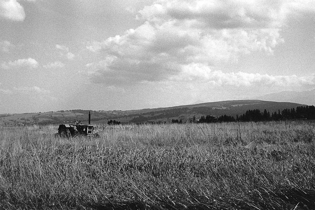 Tam na łące pasą się traktory / Tractor grazing on the meadow