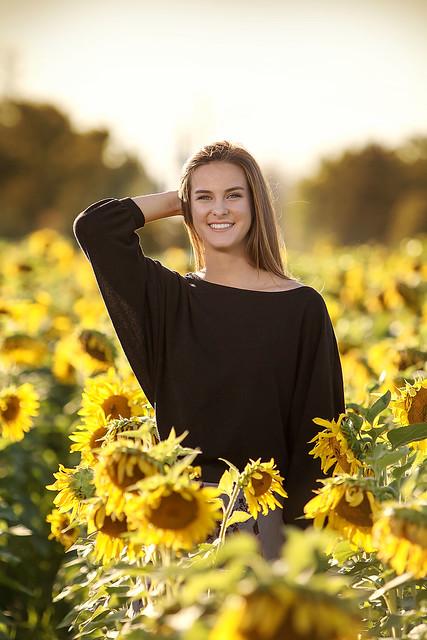 Senior and Sunflowers