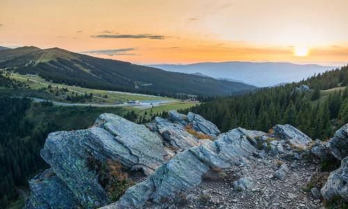 austria styria carinthia sunset landscape mountain mountainpass mountaintop sky orange forest rocks hdr