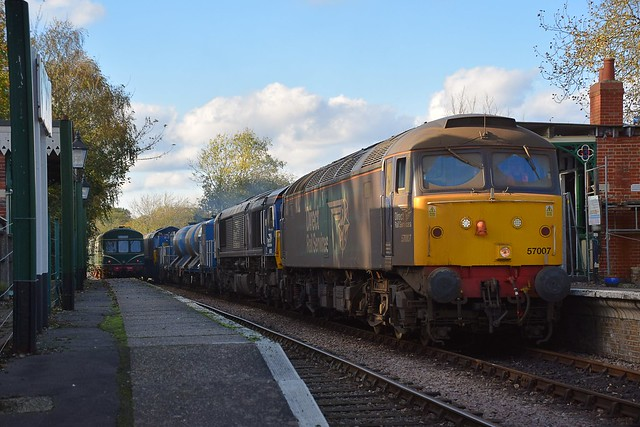 57007 paused at Thuxton Station awaiting the Service DMU, before it proceeds to  Wymondham with 66421 & 66424 on the RHTT Train. Mid Norfolk Railway. 25 10 2017