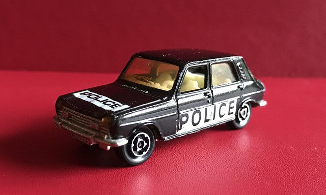 Majorette France - 200 Series - Number 234 - Simca 1100 TI - Police Car - Miniature Diecast Metal Scale Model Emergency Services Vehicle