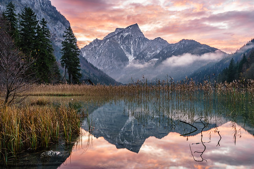 herbst landschaft leopoldsteinersee morgenrot styria a7ii autumn burningsky dawn dusk goldenhour ilce7ii lake reflection sel2470z sony sunrise variotessartfe42470 water eisenerz steiermark österreich at