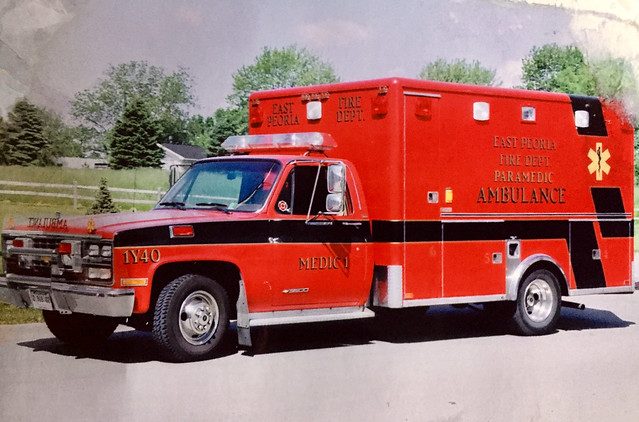Older fire apparatus from small towns in Illinois.