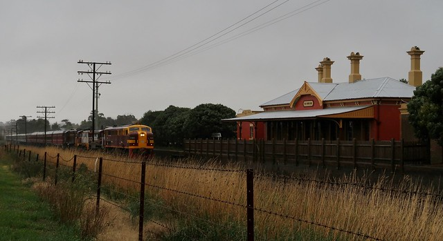 4403+4814+852+4520 glide past the 1880's built station at Millthorpe, NSW with the St James Rail tour train.