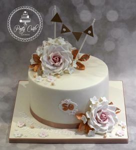 Blush Pink And Rose Gold Bunting Birthday Cake With Roses Flickr
