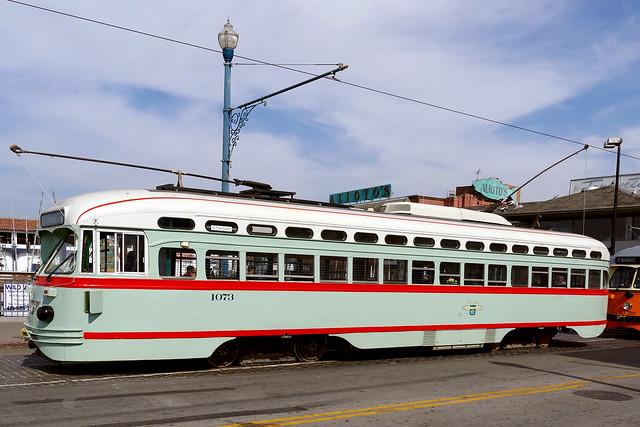 Historic Streetcars in San Francisco No.1073.