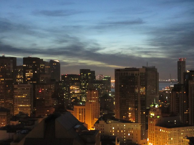 View east to Bay at dawn from Hilton Union Square, San Francisco, California
