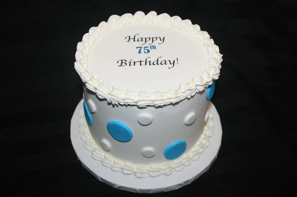 Miraculous 75Th Birthday Cake With Polka Dots 75Thbirthdaycakeedibl Flickr Funny Birthday Cards Online Alyptdamsfinfo