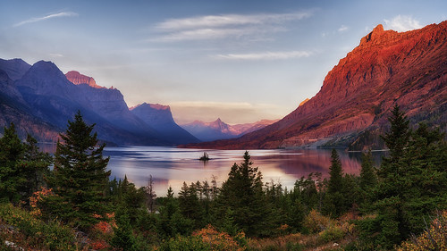 glaciernationalpark wildgooseisland nationalpark sunrise