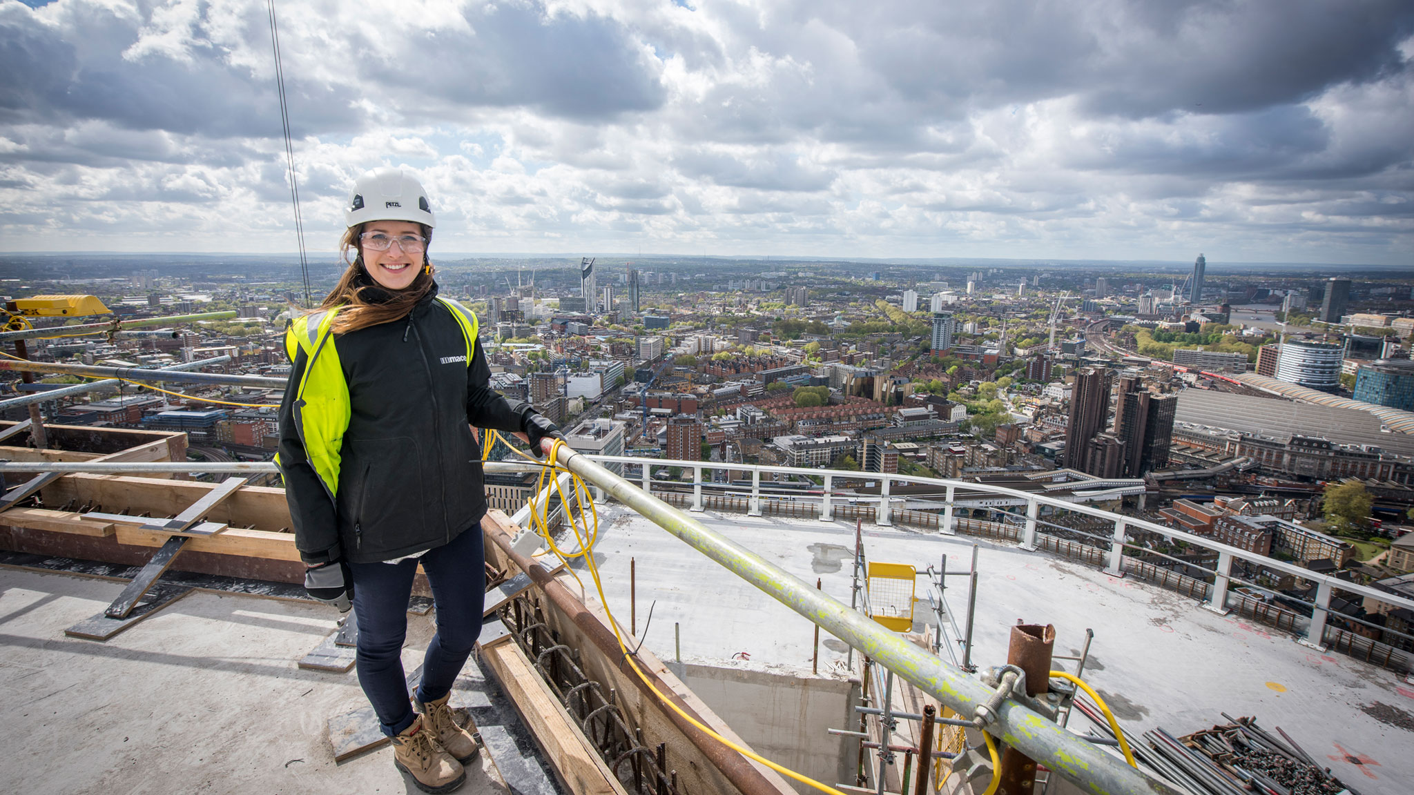 Student Rachael Broad on placement with Mace in 2015.