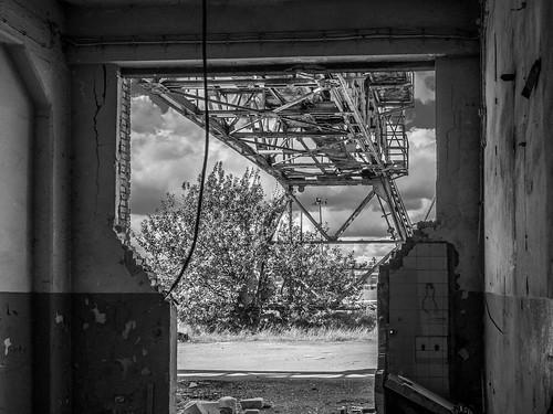 poland polska gdansk pomerania bw blackandwhite city cityscape architecture abandoned forgotten shipyard industry industrial