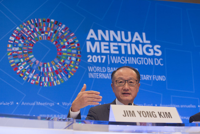 Thu, 10/12/2017 - 09:05 - October 12, 2017 - WASHINGTON, DC. World Bank / IMF 2017 Annual Meetings.  Watch Event  Opening Press Conference: World Bank Group President, Jim Yong Kim. Photo:  World Bank / Simone D. McCourtie  Photo ID: 101217-JYKPressConf-0138f