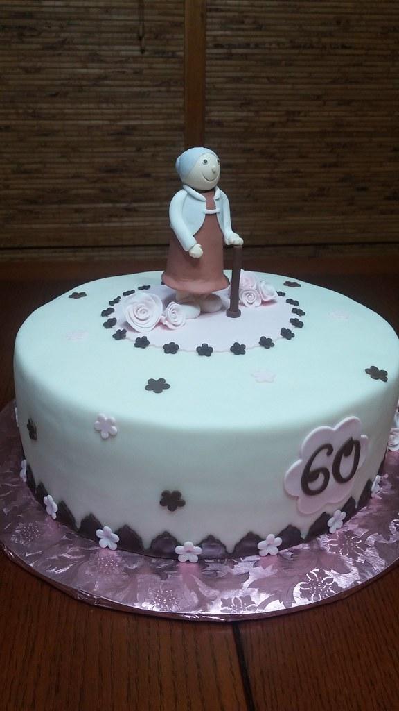 Peachy Happy 60Th 60Th Birthday Cake Buttercream With Fondant D Flickr Funny Birthday Cards Online Alyptdamsfinfo