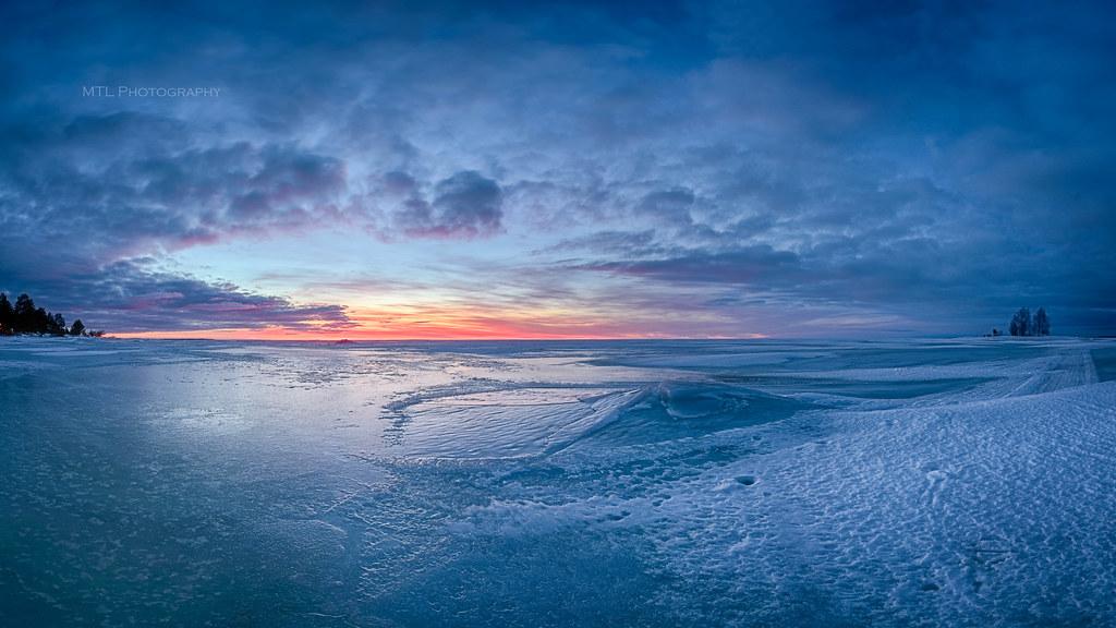 Blue ice Sunset