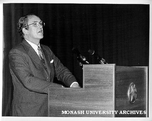 Prime Minister Mr Malcolm Fraser opening Dinah and Henry Krongold Centre for Exceptional Children, Monash University, 1976