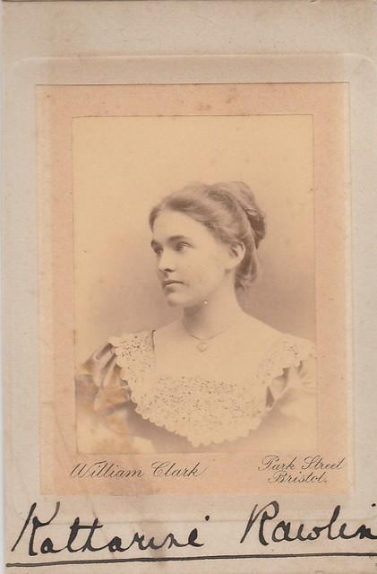 Katherine Rawlinson, fiancee. December 1899 Bristol