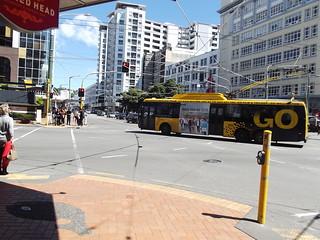 Wellington trolley bus turning into Taranaki Street.