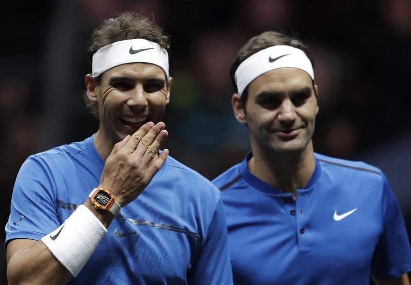 Roger Federer(圖右)與Rafael Nadal。(達志影像資料照)