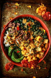Kale, Roasted Pumpkin, Chicken and Avocado Salad with Smoky Pumpkin Dressing from HeatherChristo.com | by Heather Christo