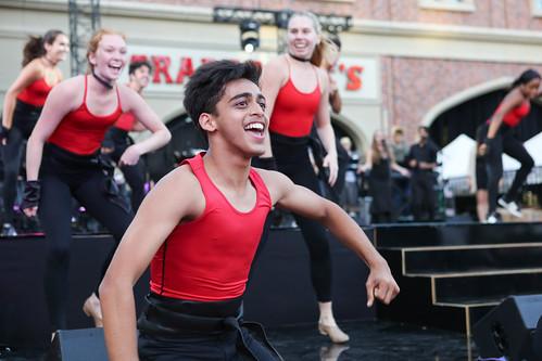 BFA student Jainil Mehta performing in USC Village Opening Performance dress rehesarsal
