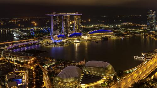singapore night marina bay singapur city