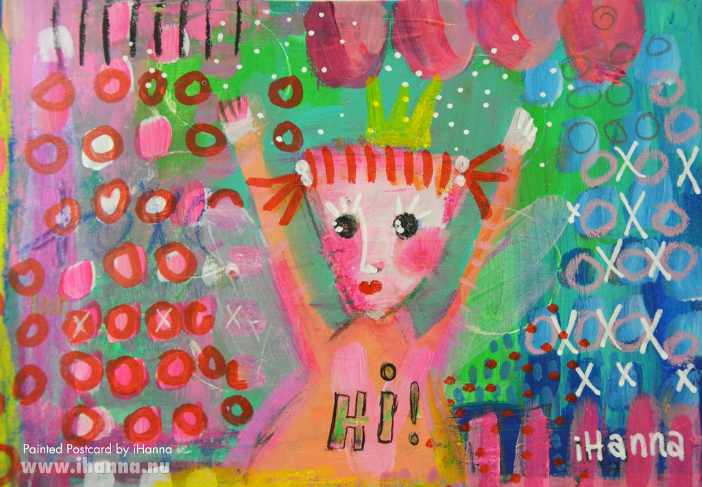 DIY Postcard painted by iHanna for the DIY Postcard Swap | Hi from another princess #DIYpostcardswap