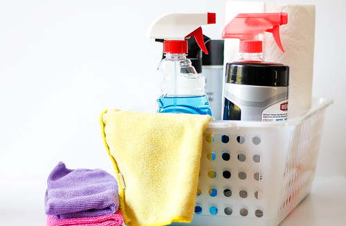 Cleaning Supplies on a White Container | by wuestenigel