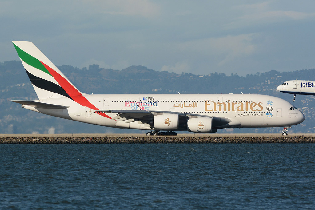 A6-EOC Airbus A380-861 KSFO 01-10-15