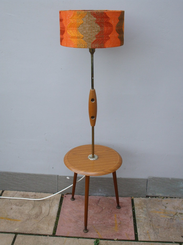 Vintage 1970 S Mid Century Modern Lamp Table Orange Sh