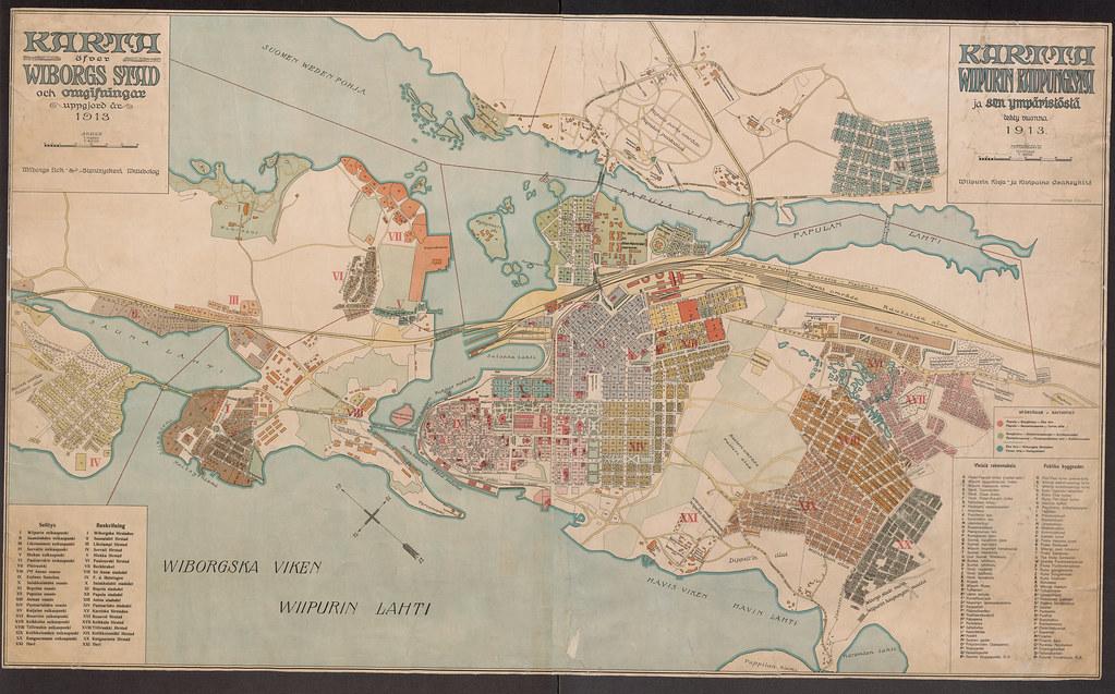 Kartta Viipurin Kaupungista Ja Sen Ymaristosta 1913 Flickr