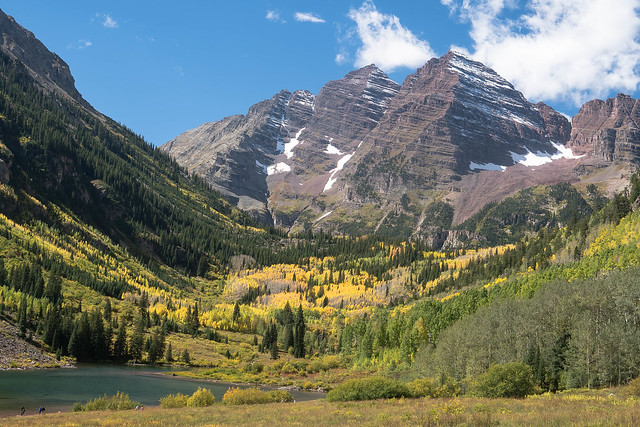 Dusting of white over Maroon Bells.