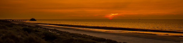 zonsondergang in Zeebrugge