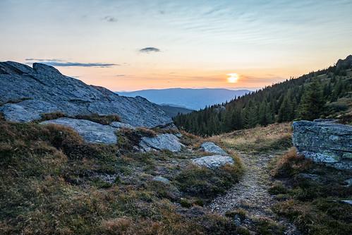 austria styria carinthia sunset mountain mountainpass forest rocks sky grass landscape hdr