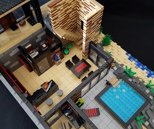 Calmwater Cliff House MOC interior ground floor