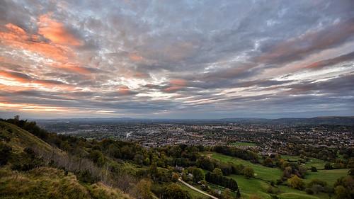 cheltenham sunset leckhampton wideangle tokinaaf1120mmf28 cotswolds uk england landscape horizon hill view automn nikond5200 nikon countryside town